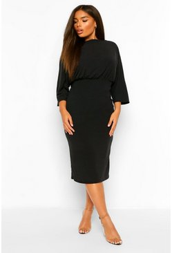 Plus Ruched Waist Batwing Midi Dress , Black negro