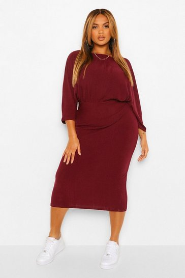 Wine red Plus Ruched Waist Batwing Midi Dress