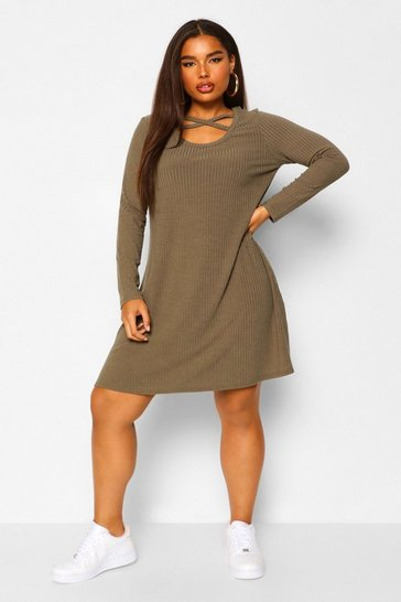 Khaki Plus Cross Front Soft Rib Skater Dress