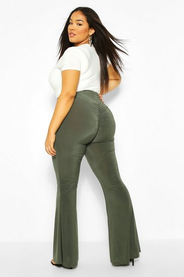 Khaki Plus Ruched Bum flares