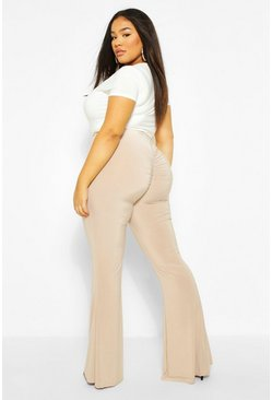 Stone beige Plus Ruched Bum flares