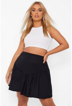 Black Plus V Panel Skater Skirt