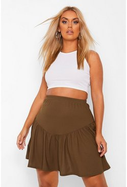 Khaki Plus V Panel Skater Skirt