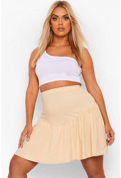 Stone beige Plus V Panel Skater Skirt