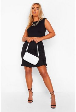Black Plus Ruched Side Ruffle Mini Skirt