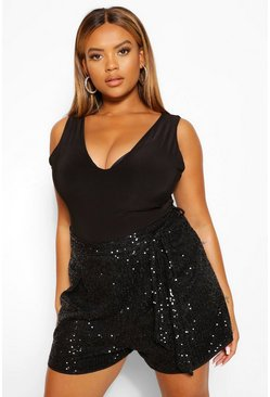 Black Plus Sequin Tailored Belted Short