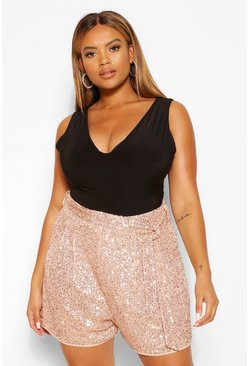 Gold metallic Plus Sequin Tailored Belted Short