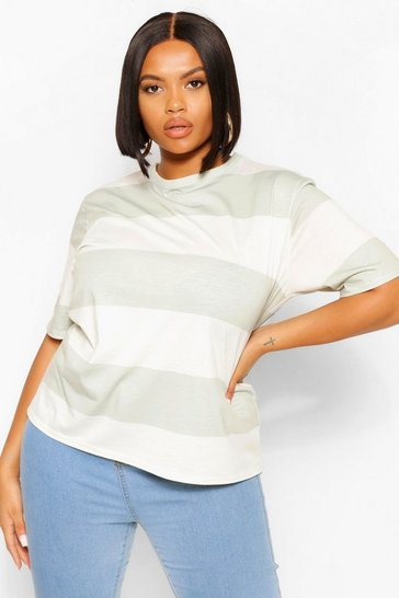 Sage green Green Plus Wide Stripe Short Sleeve T-Shirt