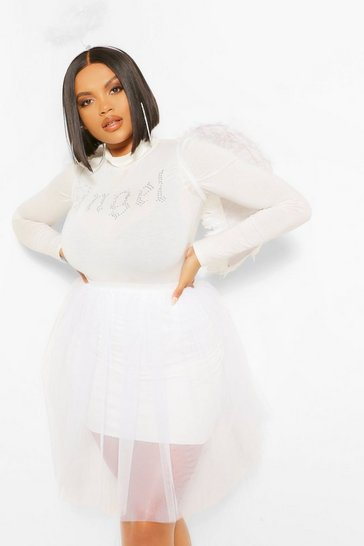 White Plus Halloween Angel Tutu Mini Skirt