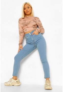 Light blue blue Petite Waist Detail Skinny Jeans