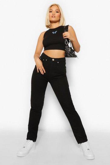 Black Petite Classic Mom Jeans