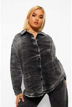 Grey Petite Acid Wash Denim Shirt