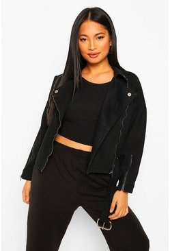 Black Petite Denim Biker Jacket