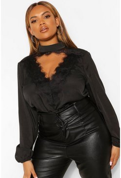 Black Plus Lace Plunge Woven Blouse