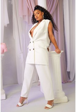 Ivory white Plus Tailored Pleat Detail Trouser