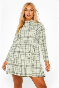 Sage Plus Check Tiered Smock Dress