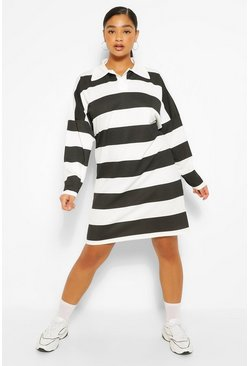 Plus Stripe Boyfriend Rugby Tee Dress, Black nero
