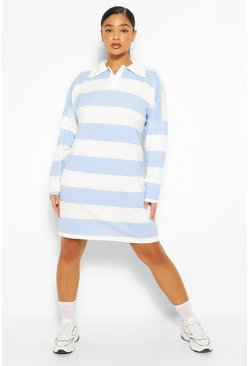 Blue Plus Stripe Boyfriend Rugby Tee Dress