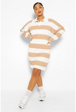 Camel beige Plus Stripe Boyfriend Rugby Tee Dress