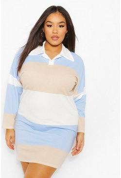 Blue Plus Colour Block Rugby Tee Dress