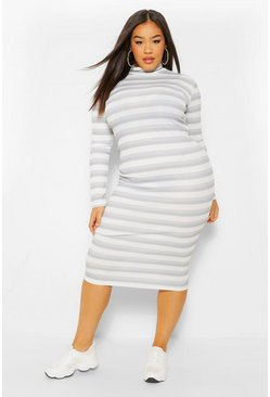 Grey Plus Rib Stripe High Neck Midi Dress