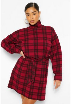 Berry red Plus Check High Neck Belted Shift Dress