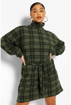 Khaki Plus Check High Neck Belted Shift Dress