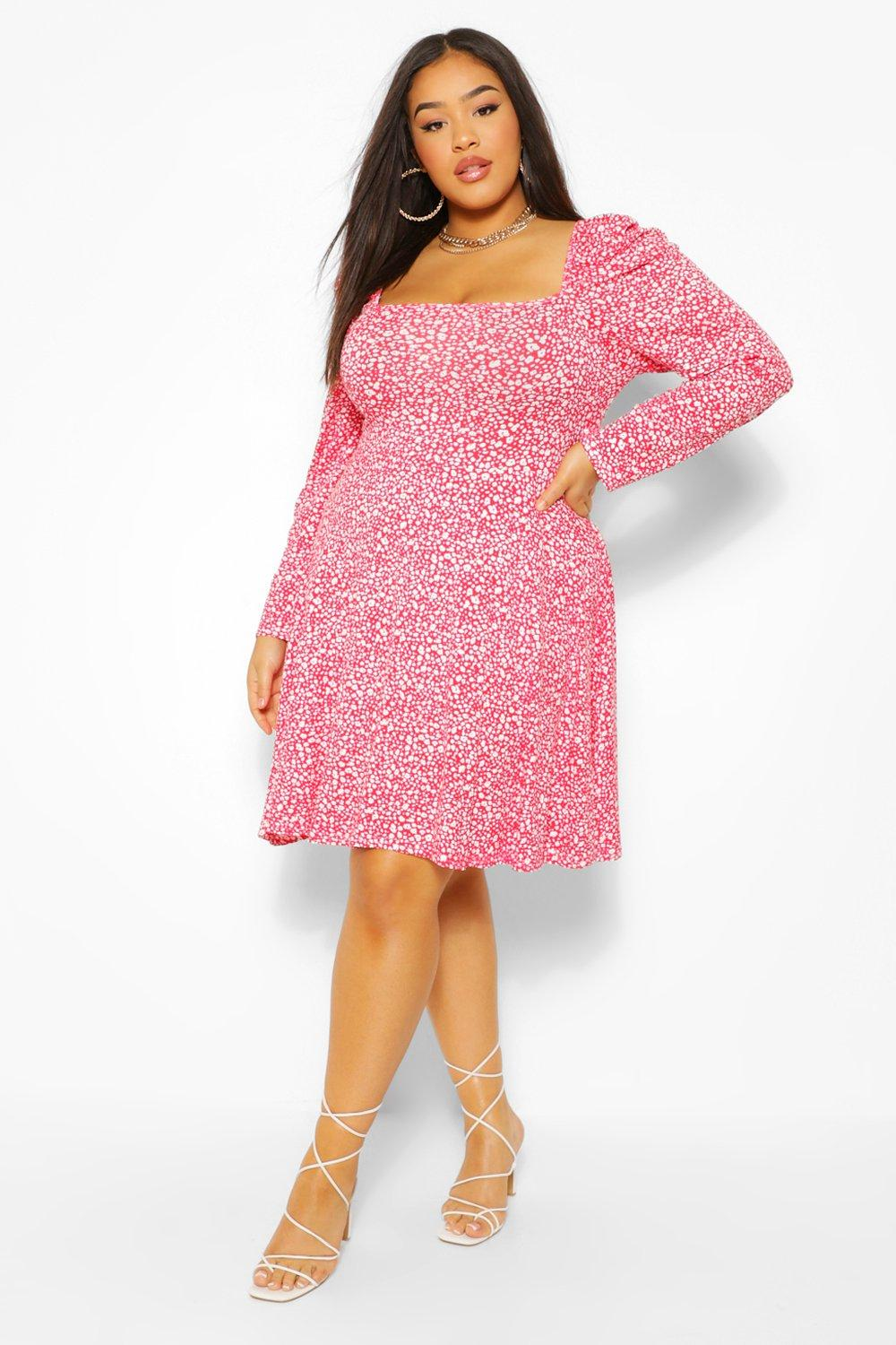 Plus Ditsy Floral Puff Sleeve Skater Dress 16