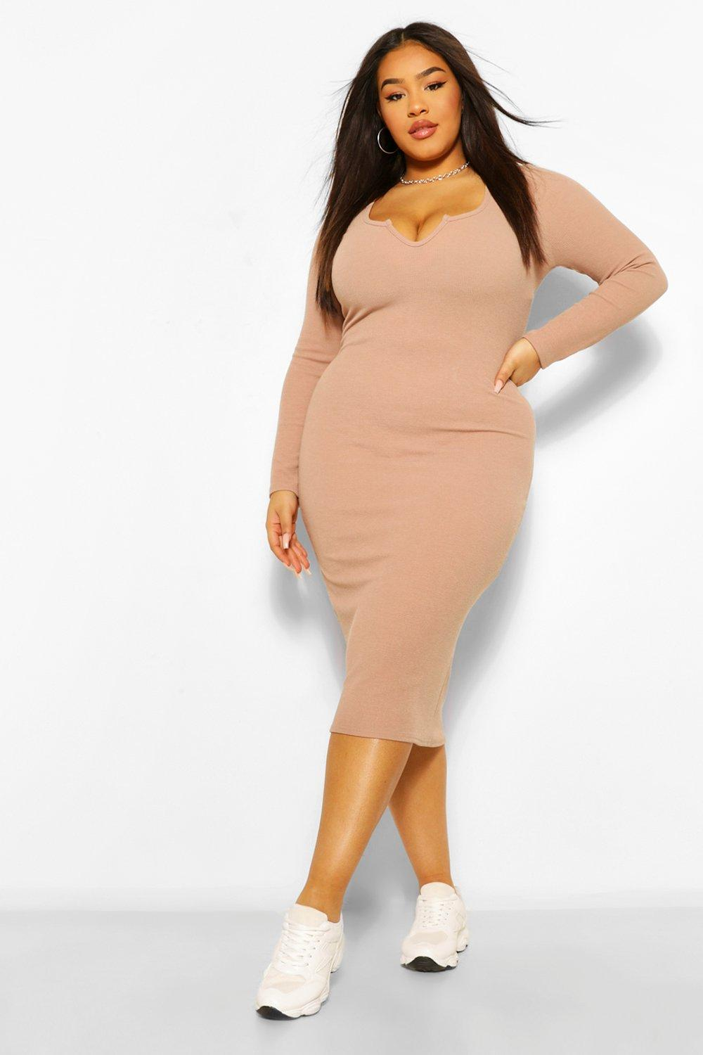 Plus Notch Front Ribbed Midi Dress 4