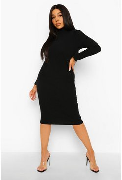 Black Plus High Neck Ribbed Midi Dress