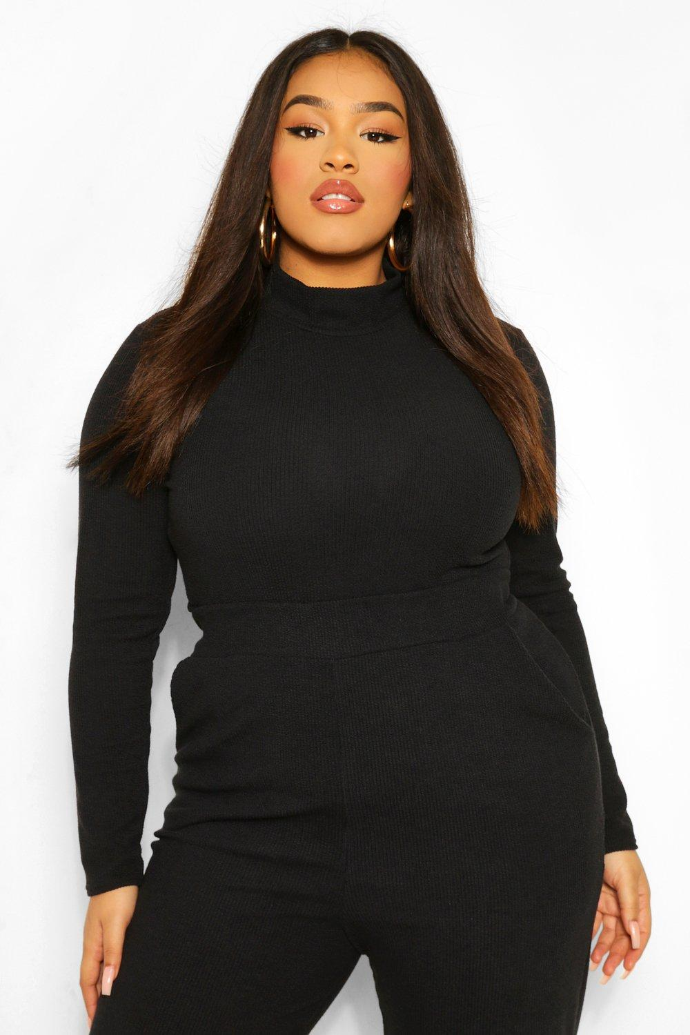 Plus Premium High Neck Ribbed Top 16
