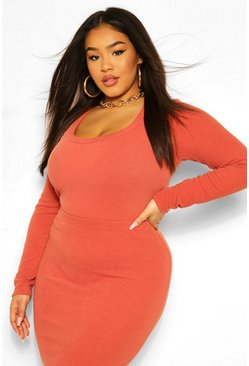 Rust orange Plus Premium Scoop Neck Long Sleeve Rib Bodysuit