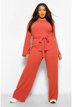 Rust orange Plus Premium Ribbed Flared Trousers