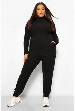 Plus Premium Cuffed Hem Ribbed Jogger, Black Чёрный