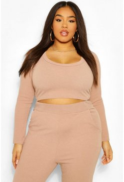 Stone beige Plus Premium Scoop Neck Ribbed Crop Top
