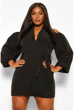 Black Plus Open Shoulder Blazer Dress