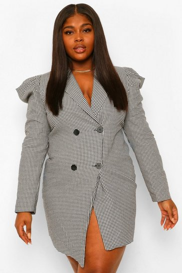 Black Plus Dogtooth Puff Sleeve Blazer Dress