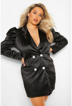 Black Plus Satin Puff Sleeve Blazer Dress