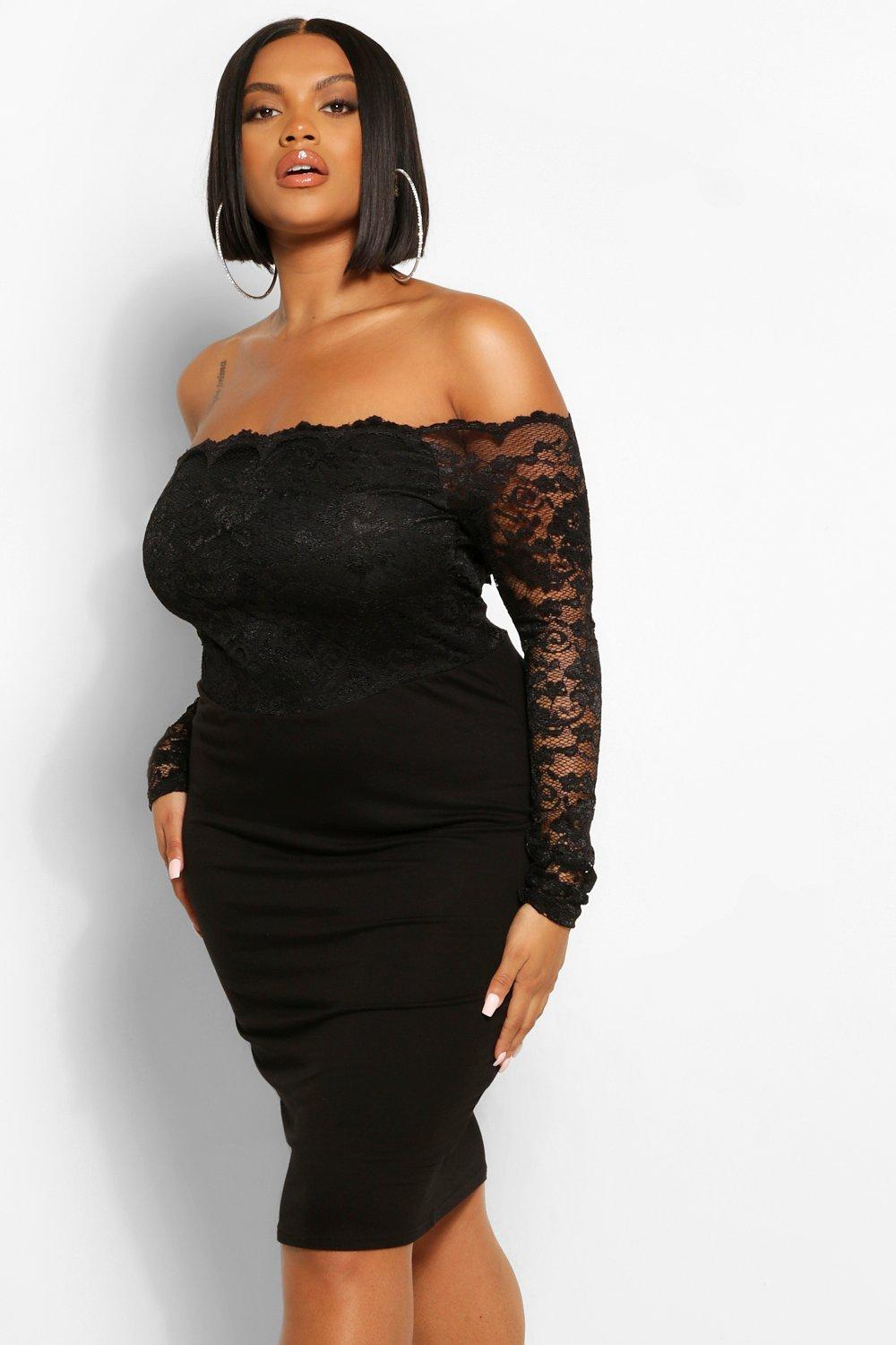 Plus Lace Off the Shoulder Midi Dress 10