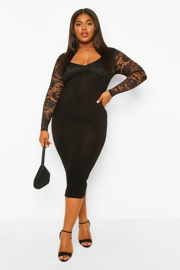 Black Plus Lace Bodie Midi Dress