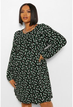 Green Plus Ditsy Floral Ruflle Smock Dress