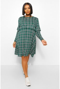 Green Plus Check Ruffle Smock Dress