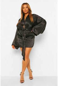 Black Plus Satin Leopard Kimono Sleeve Shift Dress