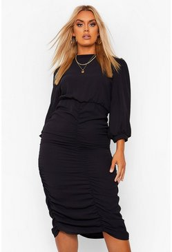 Black Plus High Neck Ruched Midi Dress