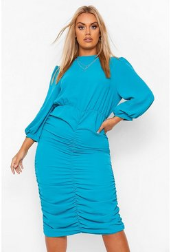 Teal green Plus High Neck Ruched Midi Dress
