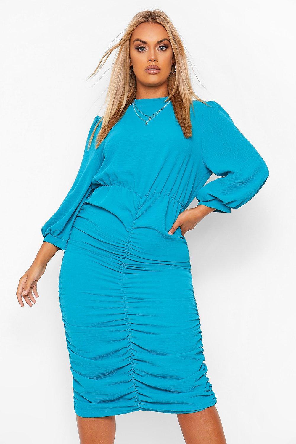 Plus High Neck Ruched Midi Dress 12