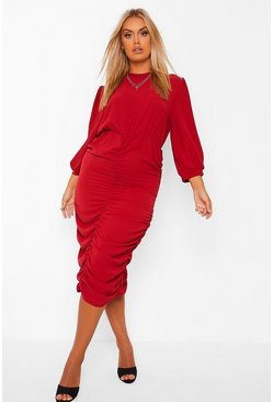 Wine red Plus High Neck Ruched Midi Dress