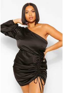 Black Plus Satin Ruched One Shoulder Mini Dress