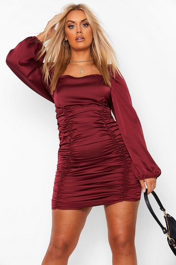 Wine red Plus Satin Ruched Blouson Sleeve Dress