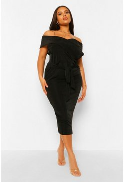 Black Plus Textured Slinky Off The Shoulder Midi Dress